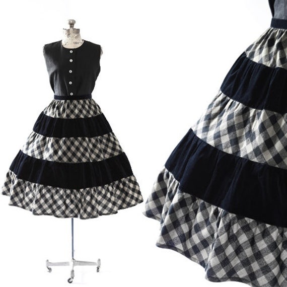 Gingham skirt | vintage 1950s skirt | velvet + woo
