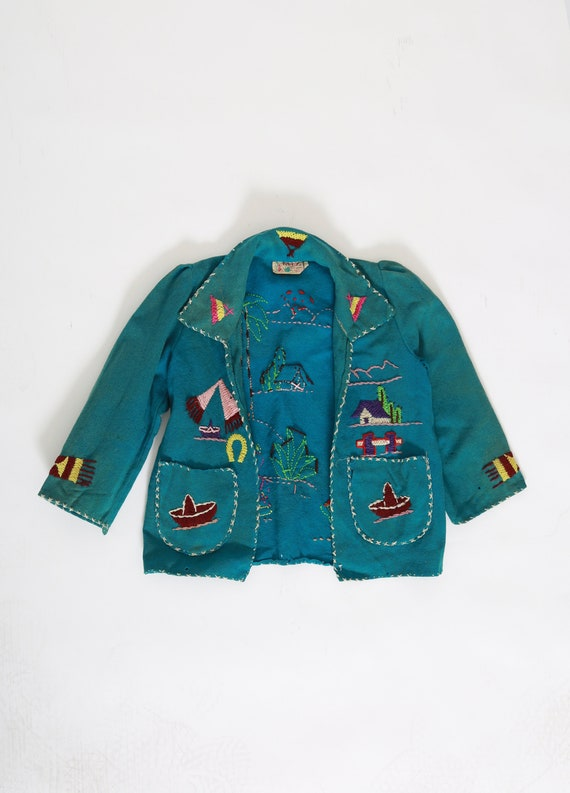 40s child's Mexican wool Jacket | Vintage 40s kids