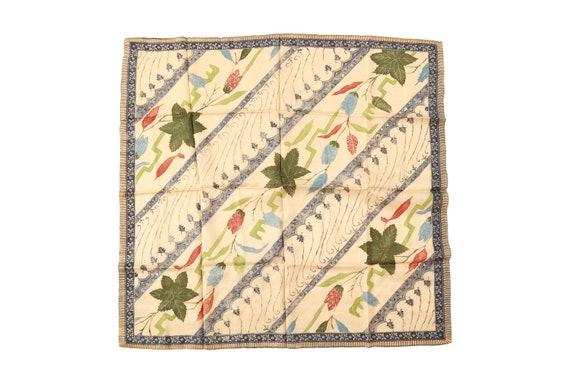 "vintage 40s floral leaf silk scarf | 31"" x 33"""