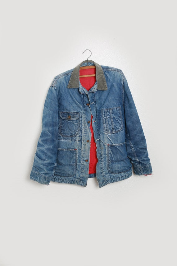40s jean jacket | vintage 40s denim chore jacket |