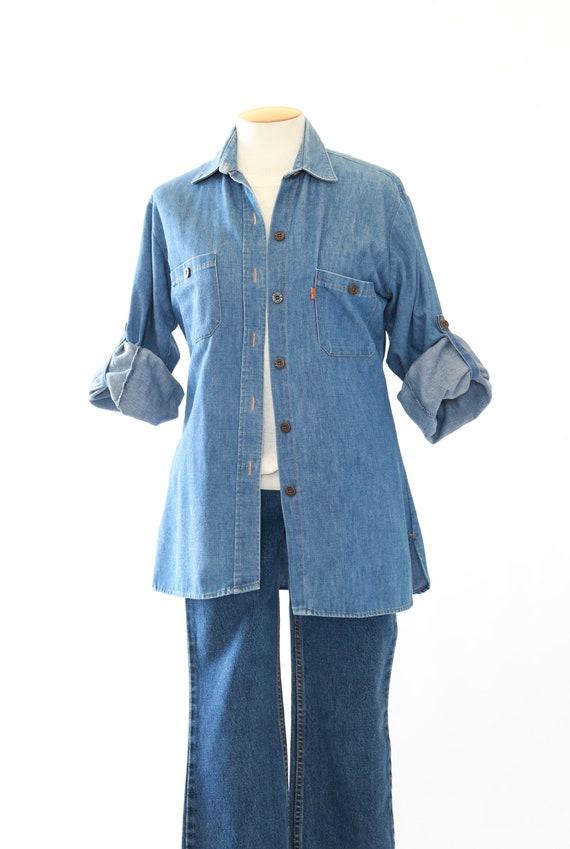 Levis denim shirt   Vintage 70s Levis orange tab b