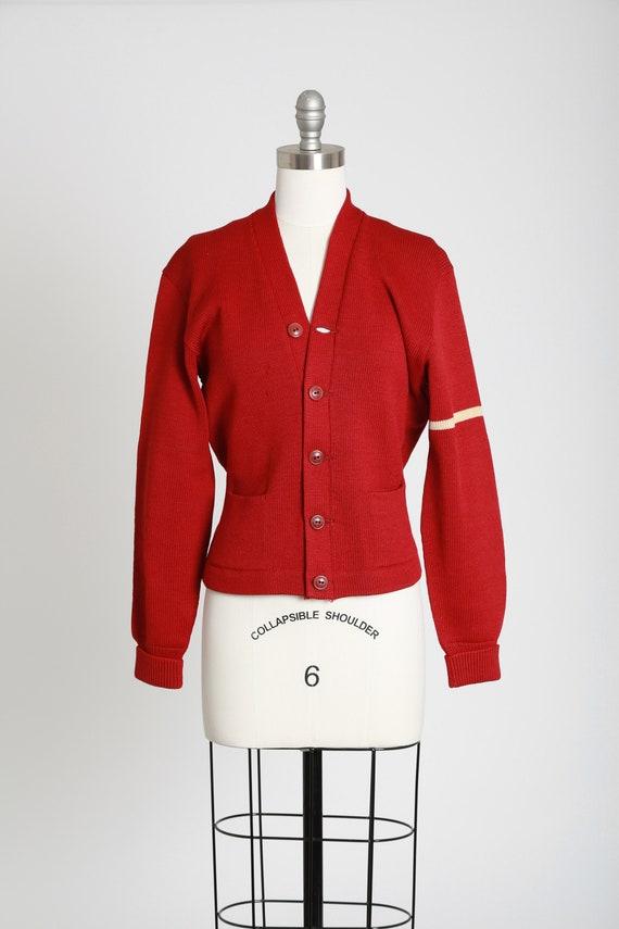 Varsity Letterman sweater   Vintage 40s red knit w