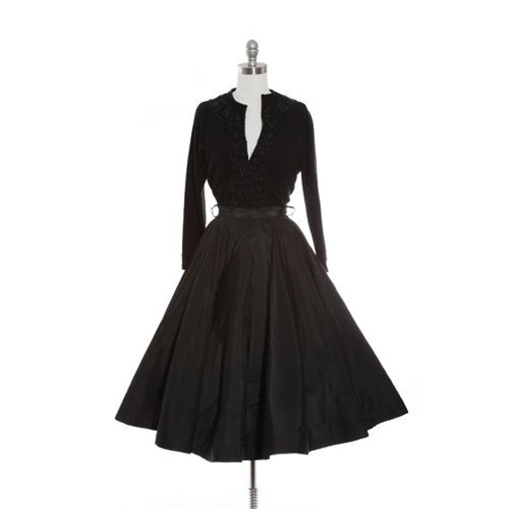 Onyx circle skirt | vintage 50s black satin circle