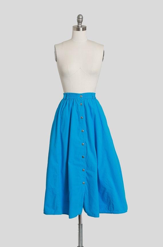 Vintage 90s Liz sport blue cotton midi full skirt