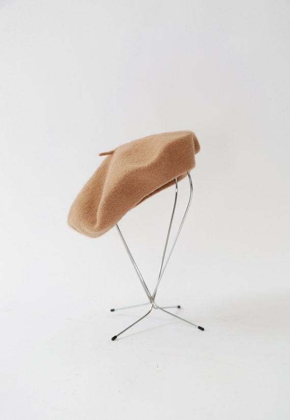 Camel Beret hat | Vintage 90s brown wool beret - image 2