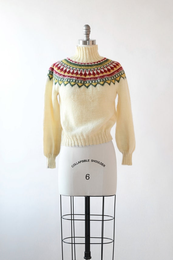 Norwegian fair isle wool sweater | Vintage 50s cro