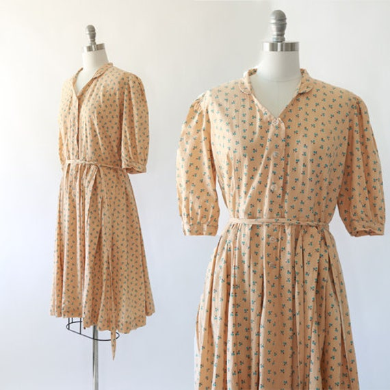 volup 1940s dress   Vintage 40s Plus Size floral cotton day dress   1940s  day dress XL