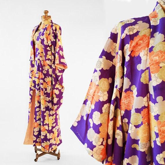 Antique 20s purple SILK floral Japanese KIMONO   w