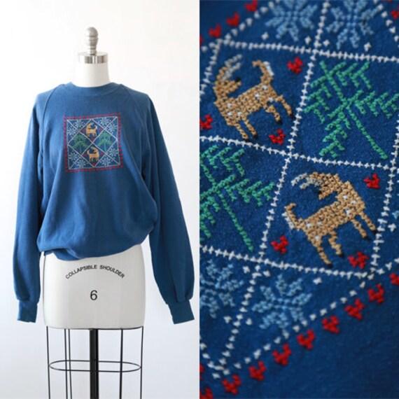 Needlepoint Christmas sweater | Vintage 80s Christ