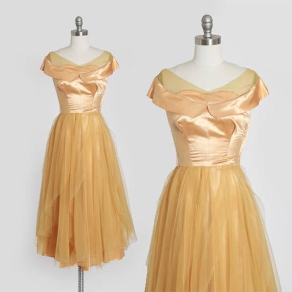 50s gold satin dress | vintage 1950s satin chiffo… - image 1