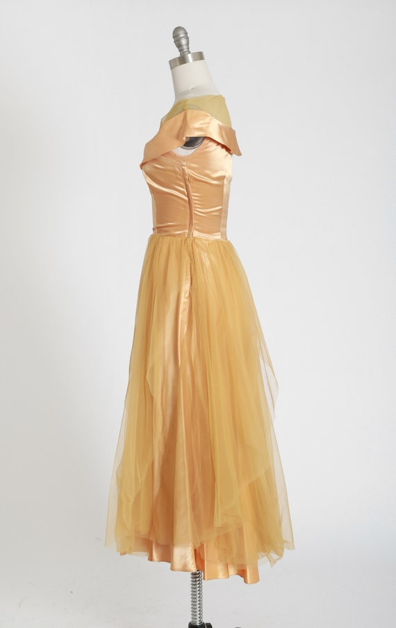 50s gold satin dress | vintage 1950s satin chiffo… - image 5