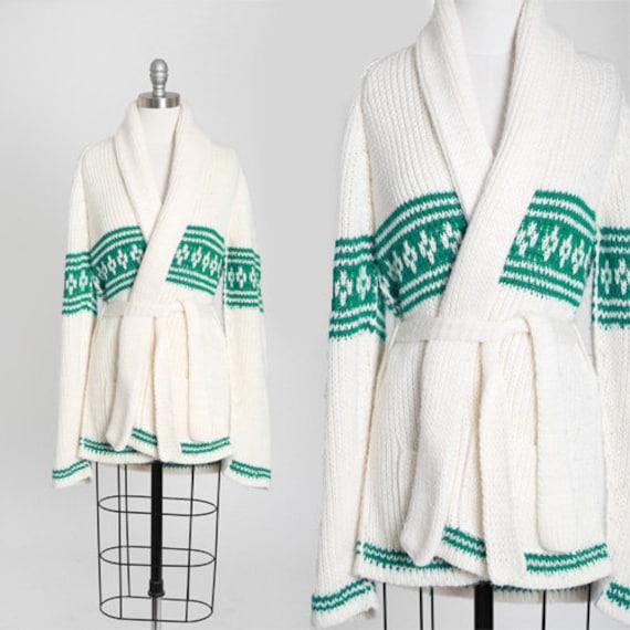 70s knit sweater | Vintage 70s Cowichan green stri