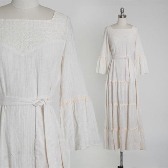 Peasant cotton gauze dress | Vintage 70s bell slee