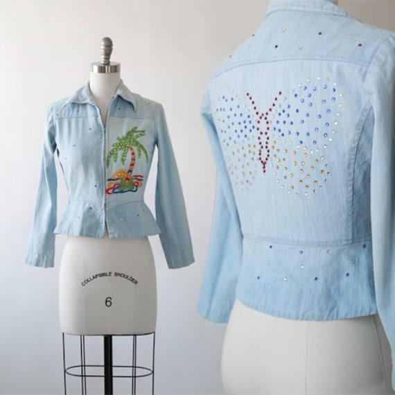 rhinestone peplum jacket | Vintage 70s 40s embroid