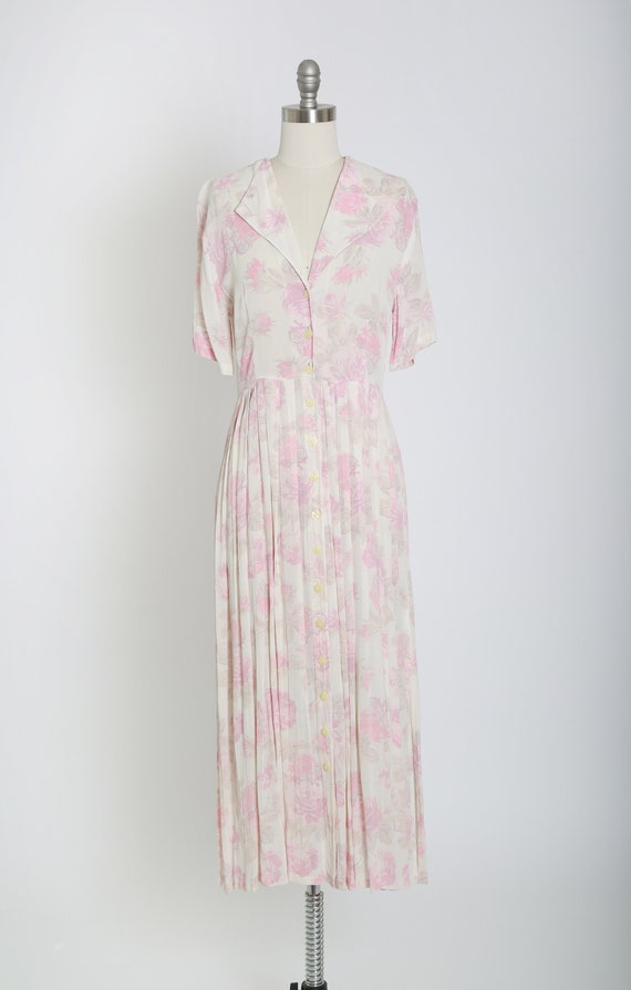 Rose midi dress | Vintage 70s 30s semi sheer pink… - image 2