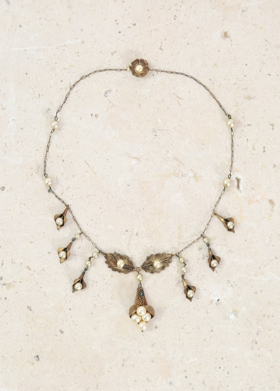 Leaf brass necklace | Antique vintage 1930s brass