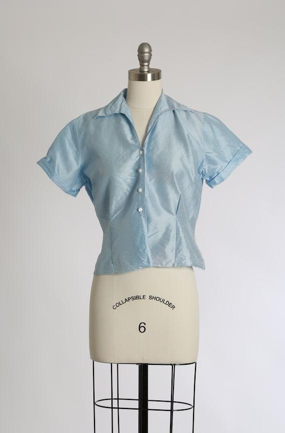 Judy Bond blouse    Vintage 1940s powder blue poli