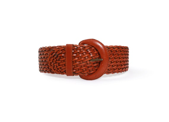 Woven leather belt | Vintage 90s wide braided brow