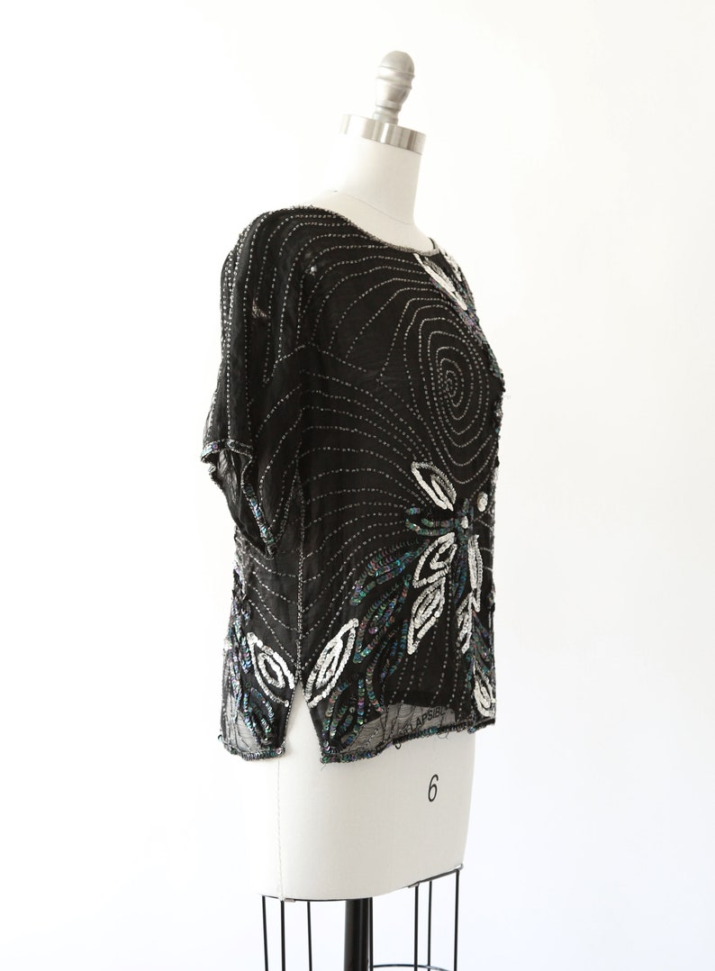 Vintage 80s silk floral beaded sequin blouse