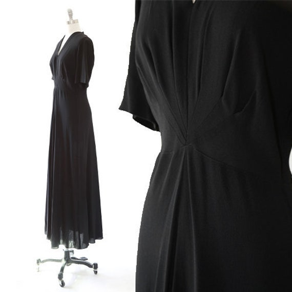 40s gown | Vintage 40s black crepe bias cut dress