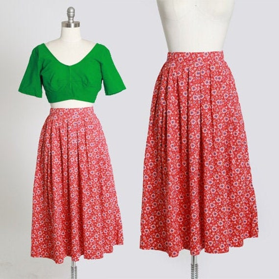 50s novelty print skirt | Vintage 50s novelty hea… - image 1