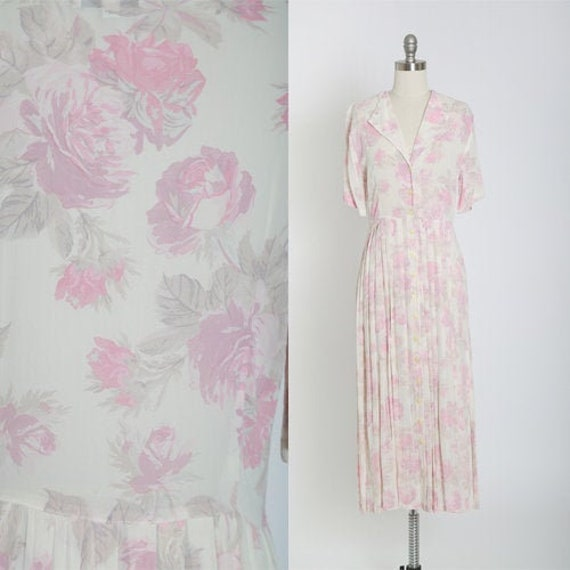 Rose midi dress | Vintage 70s 30s semi sheer pink… - image 1