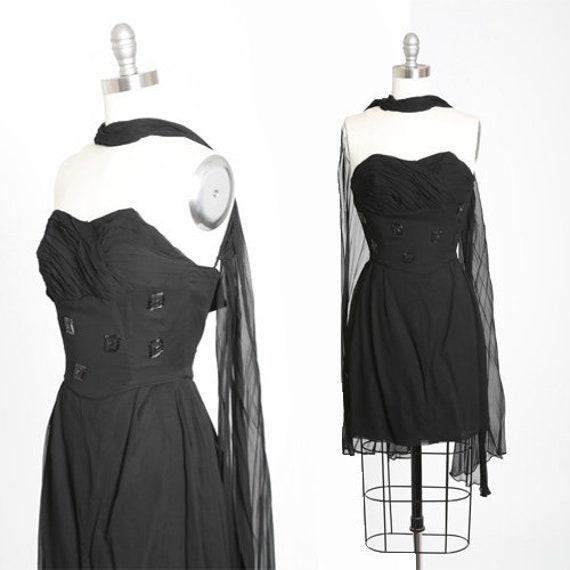 Emma Domb silk dress | Vintage 50s Emma Domb black