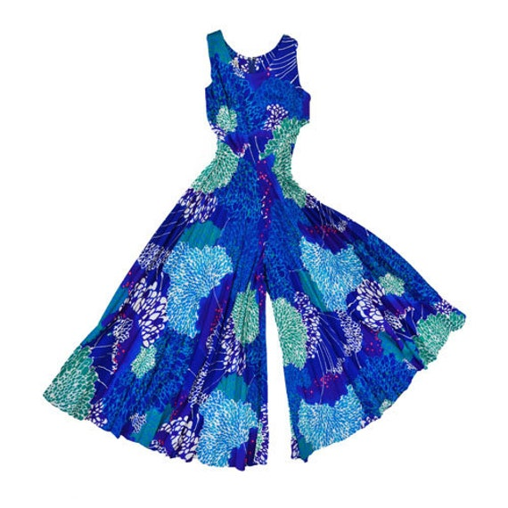 Krist barkcloth jumpsuit | Vintage 60s floral Hawa