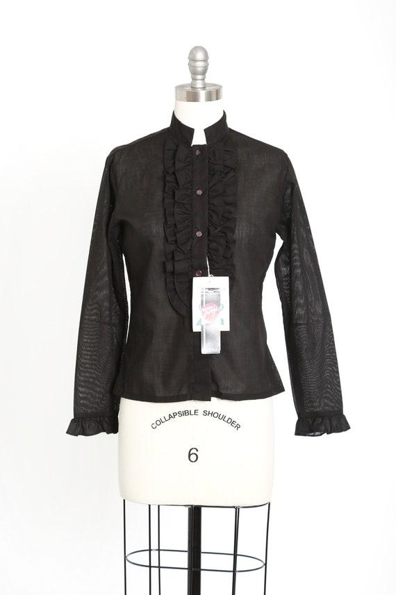 Fritzi Tuxedo blouse | Vintage 70s deadstock black