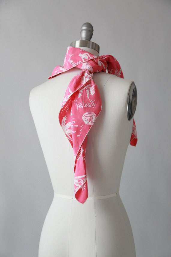 Pink Hawaiian scarf | Vintage 40s tropical Hawaii… - image 8