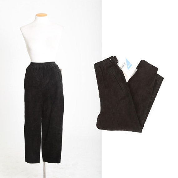 80s deadstock black leather suede pants