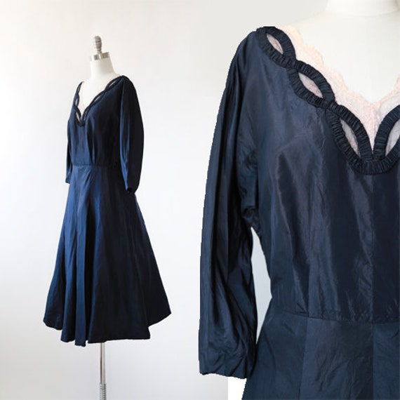 New look silk dress | Vintage 40s 50s navy blue si