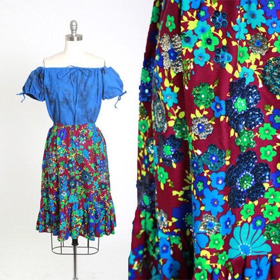 Floral sequin skirt | Vintage 60s psychedelic flor