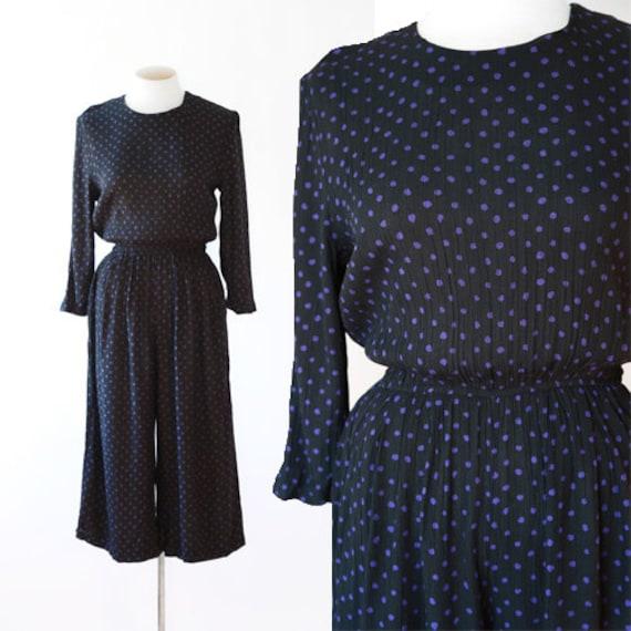 Polka Dot jumpsuit | Vintage 90s cropped jumpsuit