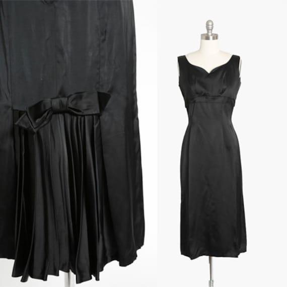 Barnett satin dress | Vintage 50s black satin bow