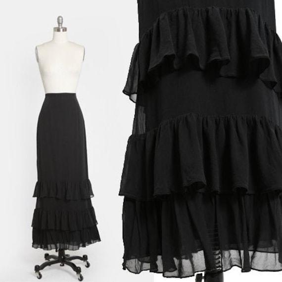 Tiered ruffle silk skirt | Vintage 90s black silk
