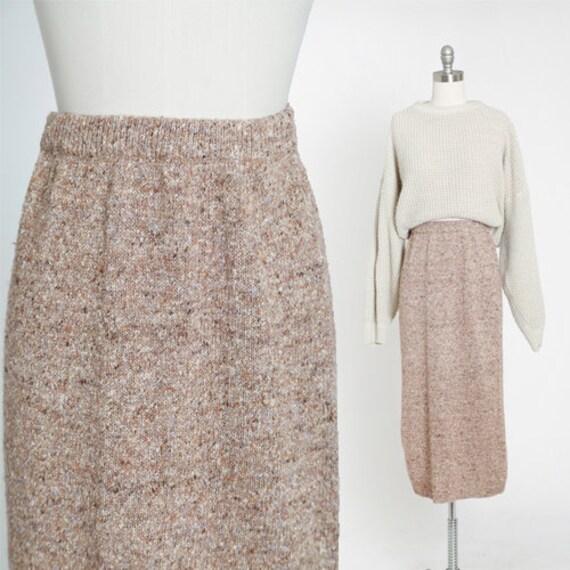 90s metallic gold oatmeal knit skirt | 1990s high