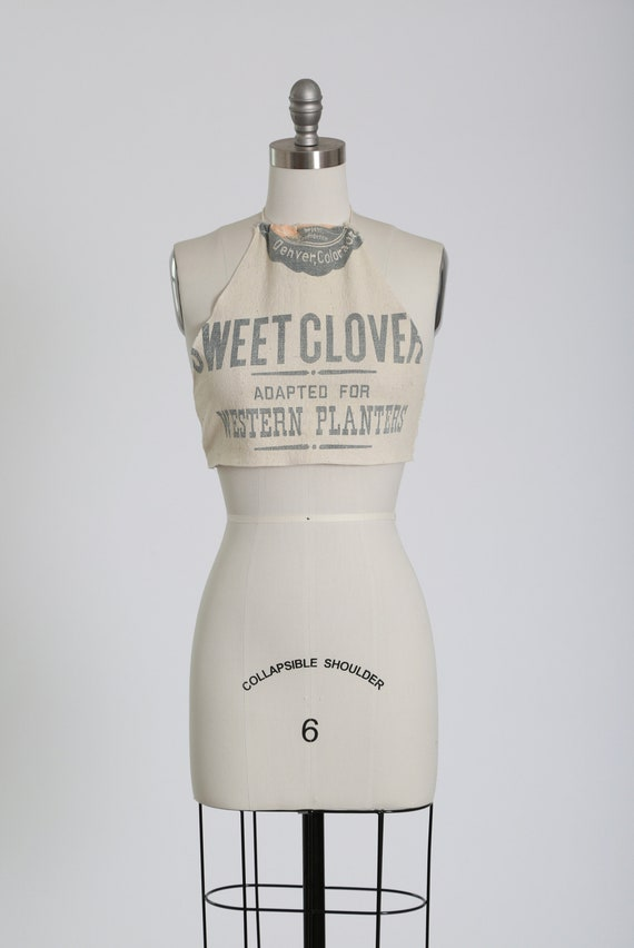 Feed sack halter top | Vintage 1940s handmade feed