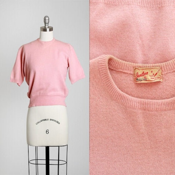 40s Jantzen Sweater | Vintage 40s pink lambswool k
