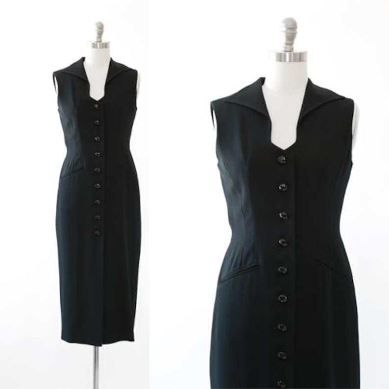 Vintage 90s Ann Tjian for KENAR black TUX Tuxedo dress Tuxedo dress