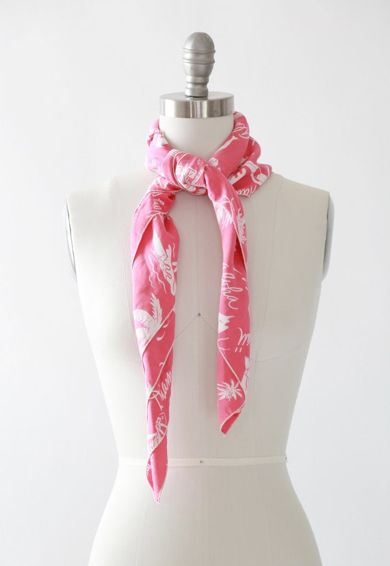 Pink Hawaiian scarf | Vintage 40s tropical Hawaii… - image 9
