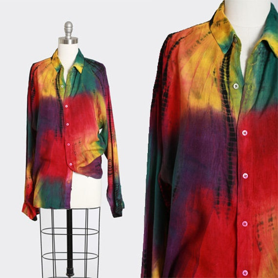 Rainbow tie dye blouse |  Vintage 90s rayon tie dy