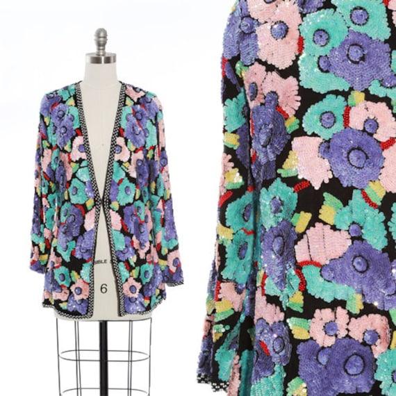 Heavily sequin jacket | Vintage 80s pastel floral