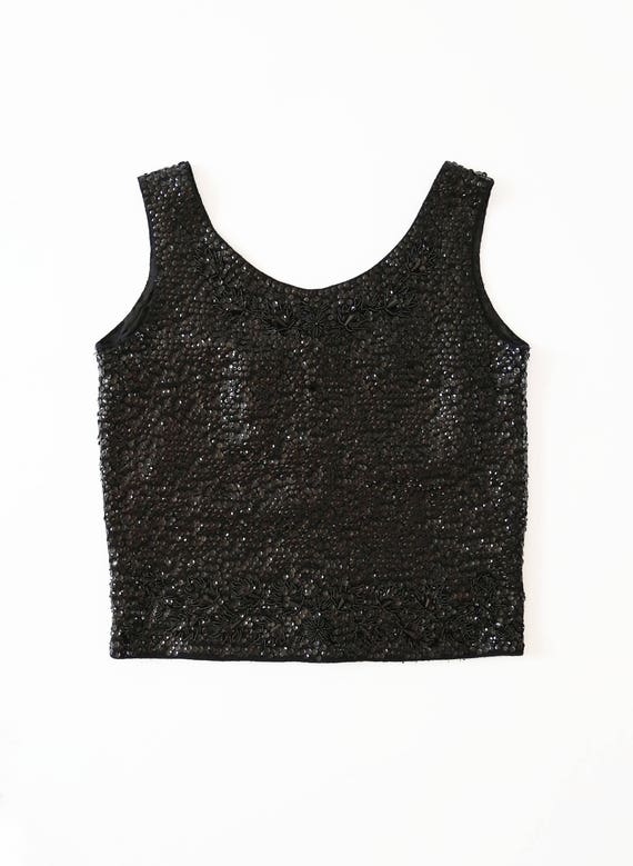 Cropped sequin tank top | Vintage 50s beaded wool