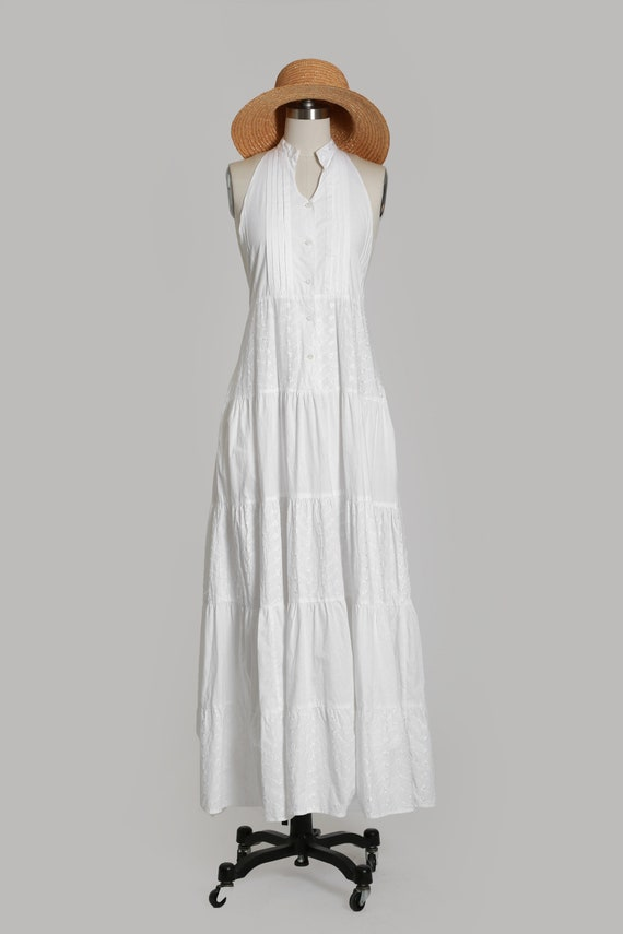 90s white cotton halter dress   1990s embroidered… - image 2
