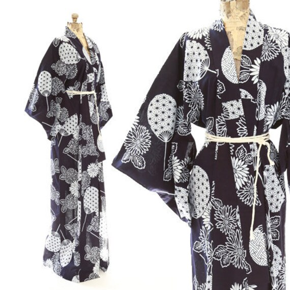 Antique 40s Fan kimono | Vintage 1940s cotton kimo