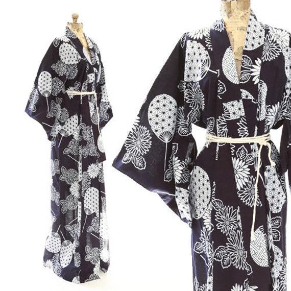 Antique 40s Fan kimono | Vintage 1940s cotton kimo