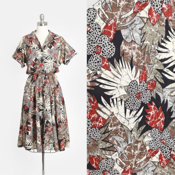 Safari Dress | Vintage 80s Tropical floral leopard