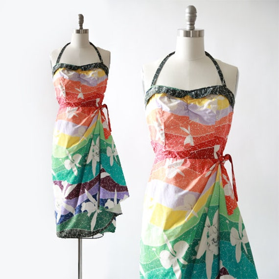Rainbow Hawaiian dress | Vintage 50s Hawaiian saro