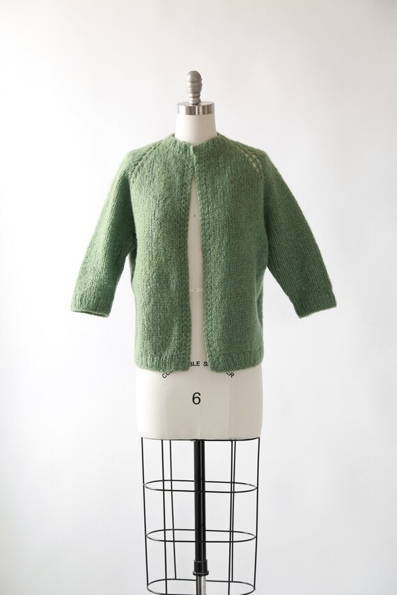 Crochet knit cardigan | Vintage 50s wool knit card